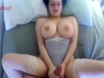 Busty babe showing off her huge tits while getting fucked
