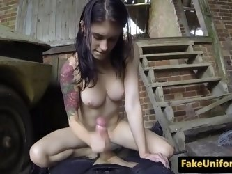 Outdoor assfucked babe takes officer cock ATM