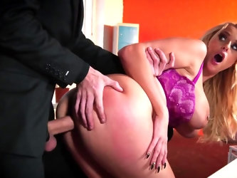 First day in new office ends for innocent buddy in unexpected way. His eccentric boss with massive boobs is in need of proper drilling and guy is happ