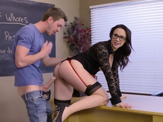 Slutty history teacher uses new method of teaching which presupposes that students can fuck her right in class. Three naughty students interrupt her l