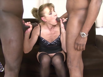 Granny anal fucked in hardcore interracial threesome
