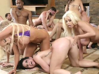All well-known porn divas and skilled stallions gathered together in Brazzers House to perform spectacular group sex scene. Voluptuous temptresses and