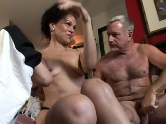 Old couple are ready for some super hot fucking session at home