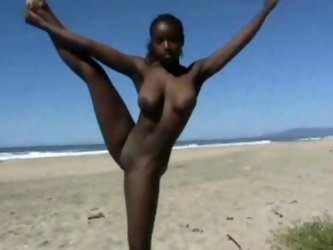 It is never boring to be with her. I took her to the beach and she showed me acrobatic tricks all naked. Her gorgeous chocolate tits were so seductive