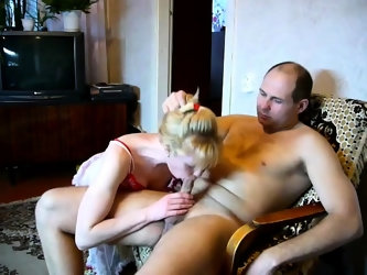 Redhead sucks dick and has doggystyle sex