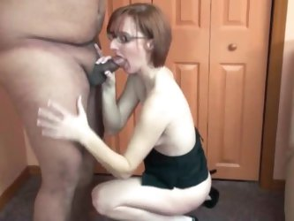 Black lace lingerie on cocksucker in glasses
