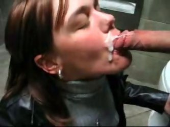 This dirty hoochie is ready to suck out all you juice in all the wrong places. For this ones she got messy facial right in the public toilet.