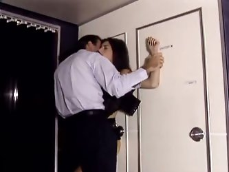 Young flight attendant and the captain of tha ship having sex in the plane bathroom, she wildly rides his cock and swallows his cum.