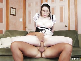 Tessa is wearing a sexy french maid uniform and her big boobs are just asking for attention. Keiran can't help himself not to have some action wi