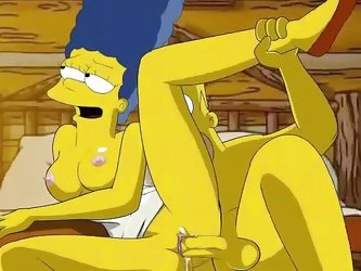 In this deleted scene from the Simpsons Movie, Homer and Marge fuck hard in an Alaskan cabin. The cute wild critters undress them Disney style before