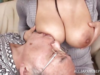 Grandpa sure had the time of his life when this gorgeous little asian slut with huge breasts decided to give him a little fuck session. He is so happy