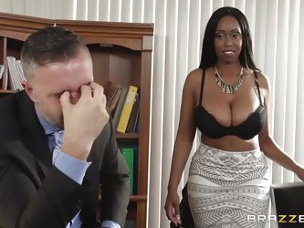 Codi is a hot black whore with incredible large breasts. She gets inside her bosses office and spills some coffee on his dick. She rubs it a while pre