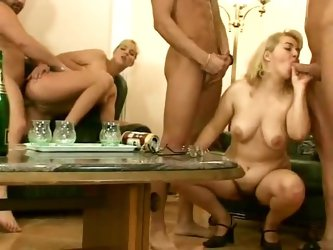 Hairy cunt fuck foursome with lots of pissing
