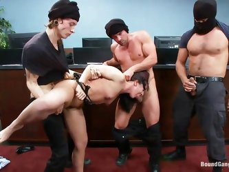 Sheena Ryder is a hot brunette with nice small tits and firm round ass. And these guys-Toni, john, Owen and Ramon can't help the wildness hiding