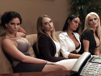 Watch those four hot babes seducing their boss for a salary raise. See how they're undressing and start touching, kissing and licking each others