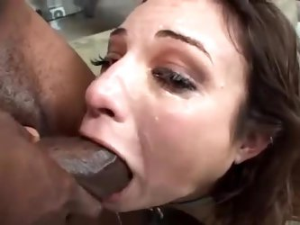 Amber Rayne face fucked by black guys