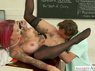 Incredibly hot big breasted pink haired MILF Anna Bell Peaks gives nice blowjob