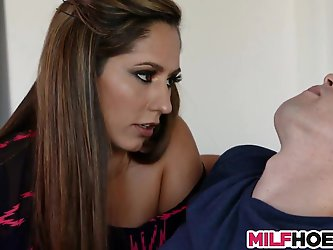 Nice mom helps stepson wanking and gives BJ