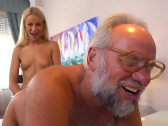 Lucky old fart is ready for some nasty fun with an angelic young porn star. This bitch is open for every kinky suggestion. She rims her partner and fi