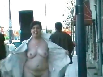 My shameless wife is an exhibitionist and she loves loves to come out to the street half naked, showing her fat body. And I decided to make this hot v
