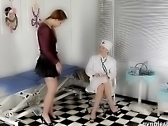 Lesbian exam of a pussy