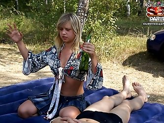 Student party with outdoor sex in a tent