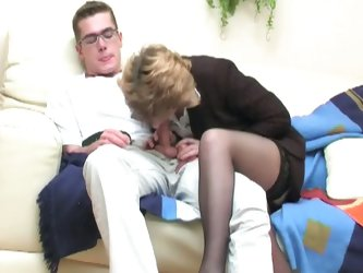 Guys seduced by milfs featuring young boy in glasses fucking