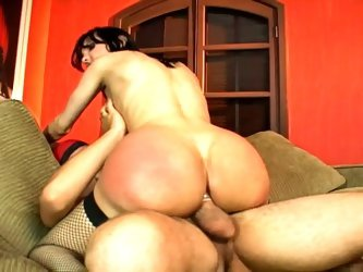 Big ass tgirl in stockings rides big cock