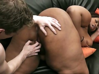Huge tits and ass ebony bbw takes white cock.