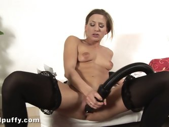 Horny house maid uses the vacuum as a sex toy!