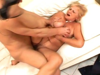 Fierce cum eating busty blonde granny still fucking at 50