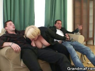 Drunk granny picked up and double fucked by young cocks