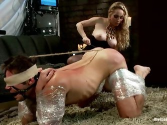 Aiden Starr the busty mistress chokes a guy and toys his ass