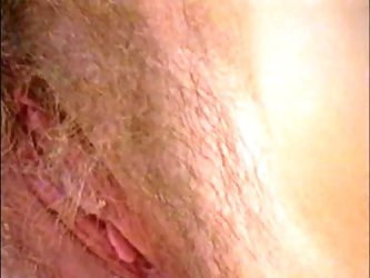 Gorgeous hairy skinny girl with big nipples masturbates