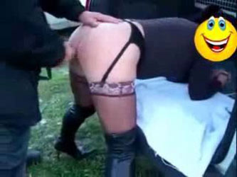 My pervert mature whore having fun with strangers outdoor