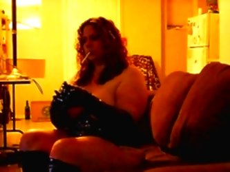 Bbw Smoking- Leather Corset And...