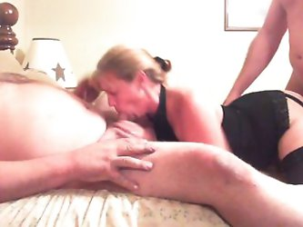 fat guy and slut wife play with stranger