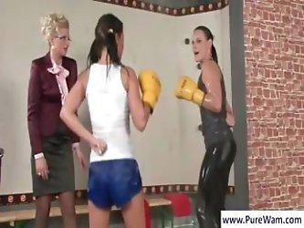 Hot and sexy foxy boxing from two brunette bimbos, plus some wet t-shirt action