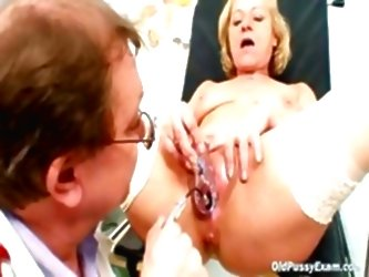 Blond Granny Squirting During A...