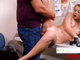 AIRPORTBUST - Officer with Big Cock Fucks Tiny Blonde Teen