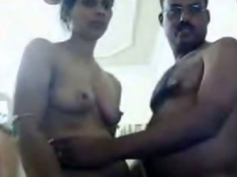 It's my debut webcam video, guys. I call my cute dark skinned Indian wife and ask to take her sari off. Then I pull her bra up and suck her sweet