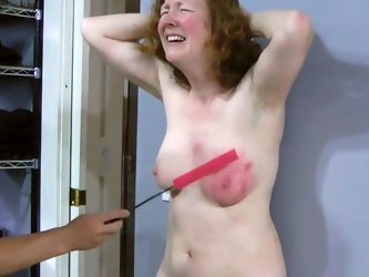 My spoiled slave must be punished for her bad behavior and she needs a good old fashioned titty spanking. I spank her tits hard until they turn scarle
