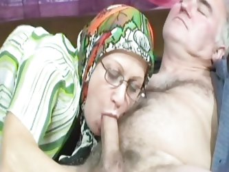 Granny Esmeralda was doing her everyday housework when grandpa gave her a well deserved break. Granny got the idea very fast so she began sucking his