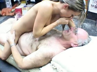 Slutty babe with fresh sexy body serves old horny uncle in the DVD shop. She gets on top of his cock riding him intensively. The action goes right in