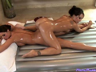 Brunette bitches are giving each other massage with slippery lotion. Then they finger fuck and toy their pussies with dildos.