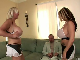 Exclusive porn video of two bbw blonde MILF with giant natural tits pleasing one happy cock. First off all they sucking that white dick and then givin