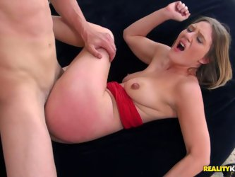 This cocky brutal guy tautens her tight juicy pussy hole on his gigantic dong. She moans like wild kitty but her sex partner speeds his tempo and sque