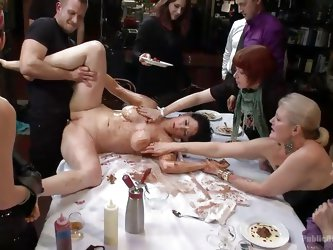 They've invited her at the table in a very special manned! The brunette slut has the humiliation of her life as these boys and girls makes her ge