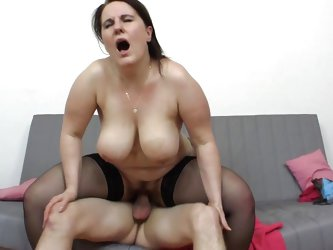She's lustful whore with a big ass and big boobs. Marlena rides her guy in cowgirl and reverse cowgirl positions after he drilled her sideways. S