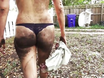 These sexy sluts get in a catfight in the backyard and are covered in dirty and leaves. After they wrestle the sexy girls head inside to the shower wh